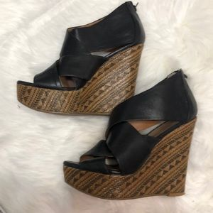 Aldo black wedges size 7.5 (38) heel height 5 in.